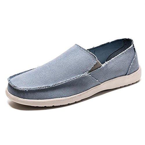 Mr. LQ–Homme Mode décontracté Toile Chaussures bleu ciel