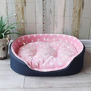 Hioowiu Punkt-Haustier-Bett-Art- und Weisegröße warme Hundehütte-Haus-Bequeme Matten-Qualitäts-großes Hundebett Pink Dot_XL