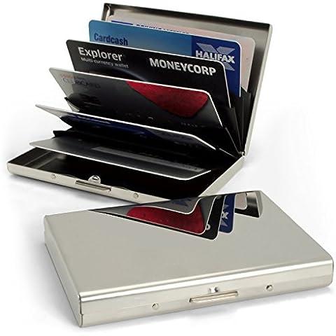 igadgitz Ultra-delgada RFID Bloqueo Tarjetas de Crédito Cartera de Acero Inoxidable Tarjetero de visita