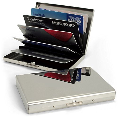 igadgitz Porte Carte de Crédit Ultra Mince en Acier Inoxydable Blocage RFID Porte-Monnaie Rigide