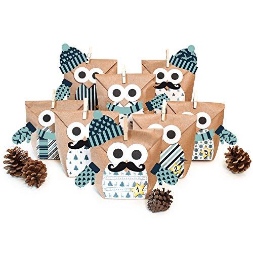 (Pajoma DIY Adventskalender Bastelset Christmas Owl Blue mit Extras, 24 Kraftpapiertüten zum Basteln & Befüllen, Kein Schneiden notwendig, Weihnachten)