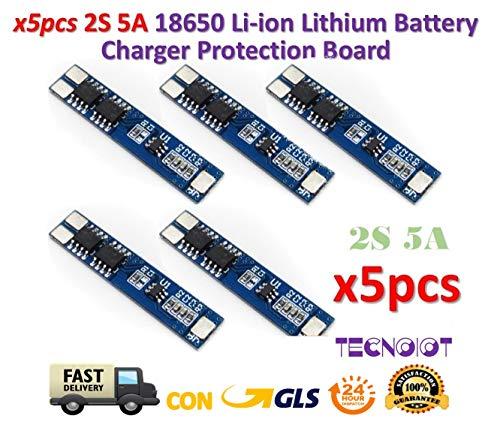 TECNOIOT 5pcs 2S 5A Li-ion Lithium Lipo 7.4V 8.4V 18650 BMS PCM Battery Protection Board Low Voltage Detection