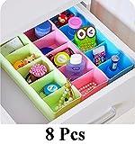 #3: Woogor 8 Pcs Undergarments Innerwear Cosmetic Makeup Drawer Organiser Partition Box (Multicolor)