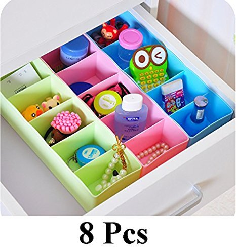 Divinext 8 Pcs Undergarments Innerwear Cosmetic Makeup Drawer Organiser Partition Box (Multicolor)