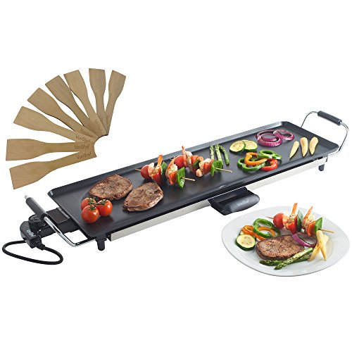 vonshef-electric-xl-teppanyaki-style-barbecue-table-grill-griddle-with-adjustable-temperature-and-8-