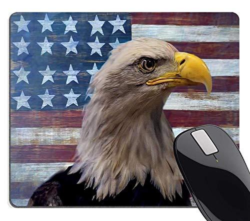 Muccum Vintage Rustikales Mauspad mit amerikanischer Flagge, Cool Patriotischen Bald Eagle