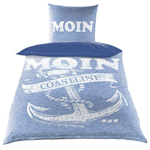 Baumwoll Renforce Bettwäsche 135x200 2-TLG Anker Maritim Moin blau