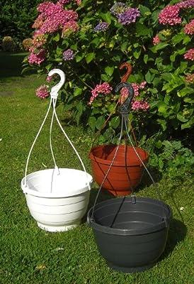 Blumenampel Blumenkasten weiß anthrazit terra Ø 25 cm von Testrut bei Du und dein Garten