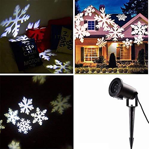 Locisne Indoor/Outdoor Projektor-Lampen-Feiertags-Party Weihnachtsbaum Bühnen Haus Dekoration IP44 LED Flutlicht-Scheinwerfer(Schneeflocke kaltweiß)