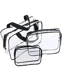 6fd8f6f41 Neceser Transparente, JTDEAL Bolsa Impermeable de PVC (3pcs ), Bolsa de  Cosmético Bolsa de Mano Organizador…