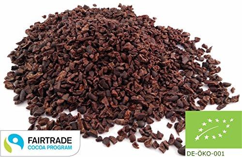 Edelmond rohe Kakao-Nibs Fair Trade und Bio zertifiziert. Frischware aus Criollo Trinitario Kakaobohnen. Pestizid & Cadmium getestet. 250 g.