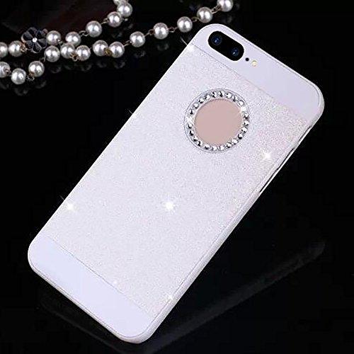 Cuitan PC Glitter Housse Case pour Apple iPhone 7 plus (5,5 Inch), avec Diamant Strass Sparkle Bling Shiny Retour Housse Back Cover Protecteur Etui Coque Cover Shell pour iPhone 7 plus (5,5 Inch) - No Blanc