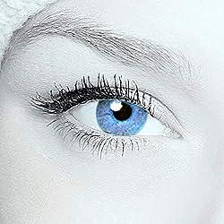 Eye-Effect 2 lentilles de contact Bleu vert Sans correction Utilisables pendant 12 mois Avec 1 étui gratuit pour 2 lentilles Pour yeux sombres