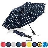 Eono by Amazon - Regenschirm Taschenschirm Kompakter Falt-Regenschirm Reise Winddichter Regenschirm, Auf-Zu-Automatik, Teflonbeschichtung, Verstärktes Dach, Ergonomischer Griff, Schirm-Tasche