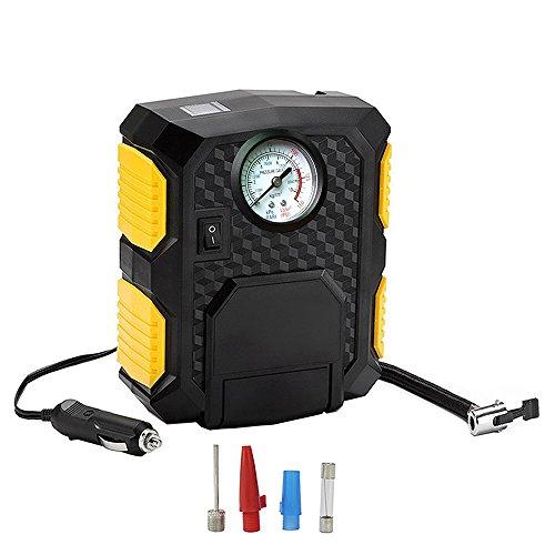 ZFLIN Mobiler Schnell Druckluft-Kompressor zum Aufpumpen von Reifen, Bällen und vielem mehr. Tragbarer elektrischer Reifen Kompressor zum Mitführen im Auto oder LKW (12V DC Zeigerdisplay)