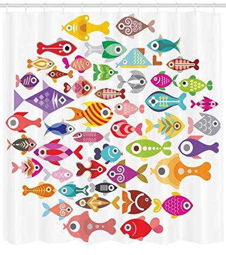 ABAKUHAUS Fisch Duschvorhang, Bunte Aquarium Fische, Wasser Blickdicht inkl.12 Ringe Langhaltig Bakterie und Schimmel Resistent, 175 x 200 cm, Multicolor