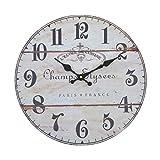 Vevendo Wanduhr - Elysees - Holz Küchenuhr mit großem Ziffernblatt aus MDF, Retro Uhr im angesagtem Shabby Chic Design mit leisem Quarz-Uhrwerk, Ø: 32 cm