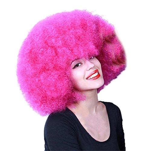 MagiDeal Synthetische Afro-Perücke, Rose Rot Afro Lockiges Haar Perücken, Hitzebeständig, Für 70er Jahre Disco Clown Cosplay Party Kostüm Perücke Wig