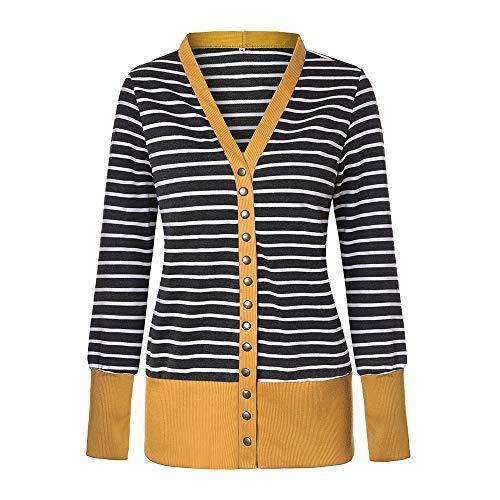 iHAZA Taste Nieder Stricken Streifen Strickjacken Frauen Langarm Gerippter Ausschnitt Mantel