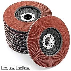 Compartiments Disques │ marron │ 20 pièces │ Ø125mm │ Mixpack (5x grain 40/60/80/120 chacun) │ Standard │ Disques Abrasifs │ Disques à Lamelles