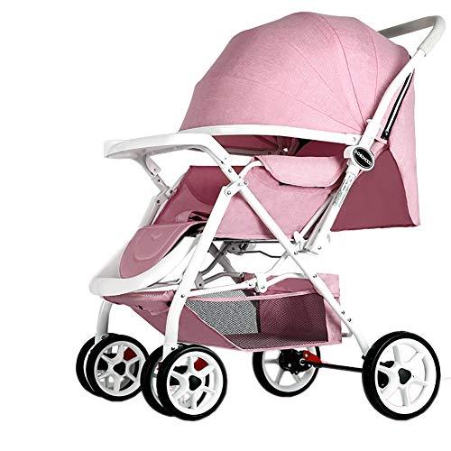 PIGE Kinderwagen Lightweight Portable High Landschaft kann sitzen und hinlegen faltbare einfache Handle Reversible Suspension Neugeborenen Buggy Baby Trolley (Farbe : Rosa)