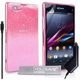 Yousave Accessories se-ha02-z413°C Regen Drop Design Hard Schutzhülle mit Kfz-Ladegerät für Sony Xperia Z1Compact rosa