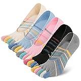 LOFIR Damen Zehensocken,unsichtbare Turnschuhe Socken,fünf Finger Laufsocken mit Silikonkautschuk,5 Paar