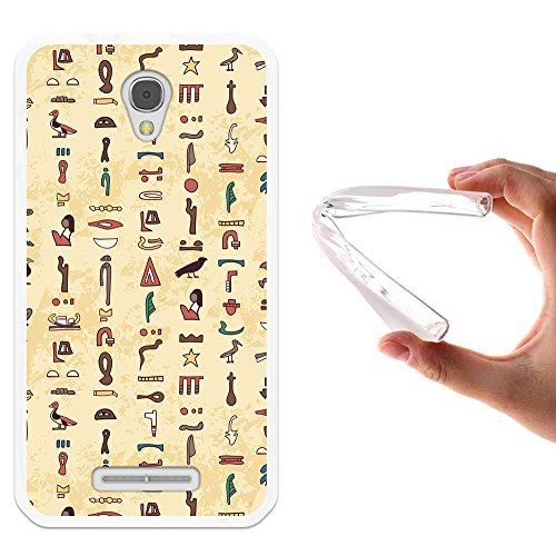 WoowCase Alcatel OneTouch Pixi First Hülle, Handyhülle Silikon für [ Alcatel OneTouch Pixi First ] Ägiptische Symbole 2 Handytasche Handy Cover Case Schutzhülle Flexible TPU - Transparent
