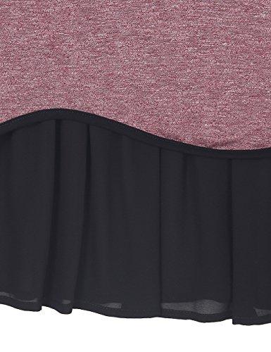 Youtalia Bezaubernde lässige Kurzarm-T-Shirt Tops für Damen mit Rundhalsausschnitt und abgerundetem Saum aus Chiffon Dunkelrot