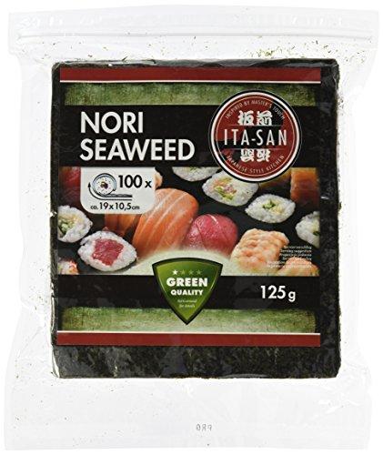 ITA-SAN Seetang, geröstet, für Sushi, halbes 100 Blatt, nori grün, 2er Pack (2 x 125 g)