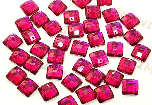 Eimass® Strasssteine/Glitzersteine, quadratisch, zum Aufnähen- oder Aufkleben, flache Rückseite, für Kostüme Gr. 10 mm, Hot Pink (50 Pieces)