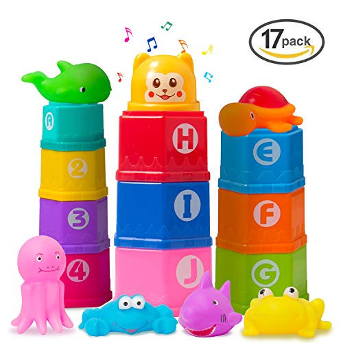 MARKKEER Stacking Cups Early Educational Toddlers Toy Baby Bath Toys Set Bathtub Toys with Numbers & Rubber Animals BPA Free Boys and Girls(17 Pcs)