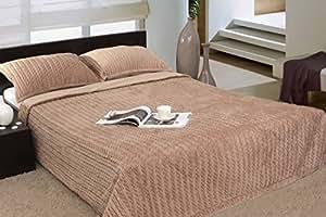 200x220 beige cappucino hohe Qualität Tagesdecke Bettüberwurf + 2 50x70 Kissenbezüge Edel