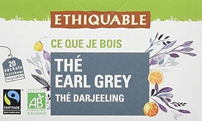 Ethiquable Thé Earl Grey Darjeeling Bio et Équitable 20 Sachets Max Havelaar - Lot de 4
