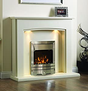 Electric Cream Ivory Silver Coal Pebble 2KW Flame Fire Wall Surround Fireplace Suite Lights Downlights 48""