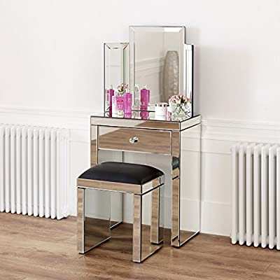 Venetian Mirrored Compact Dressing Table with Mirror and Black Stool