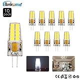 ELINKUME 10er Pack G4 LED Lampen Leuchtmittel,4W 285LM,LED Glühlampen AC DC 12V Kaltweiß 6500K,Ersetzt 30W Halogenlampe