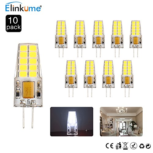 ELINKUME 10er Pack G4 LED Lampen Leuchtmittel,4W 285LM,LED Glühlampen AC DC 12V Kaltweiß 6500K,Ersetzt 30W Halogenlampe -
