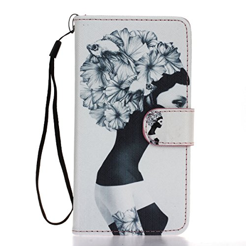 Coque Etui pour iPhone 5s, iPhone 5S Coque Portefeuille PU Cuir Etui, iPhone 5 Coque de Protection en Cuir Folio Housse, iPhone 5s Leather Case Wallet Flip Protective Cover Protector, Ukayfe Etui de P Tête d'or fille fleur