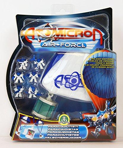 Atomicron - Air-Force - Fallschirmjäger - Mercurium Atom - mit 6 weiss/blau Kämpfer und Fallschirm mit Container