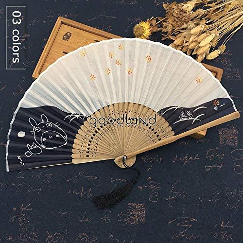 XIAOHAIZI Handfächer,Sommer Bambus Fan Hohl Kirschblüte Tier Katze Retro Chinesischen Stil Damen Geschenk Faltfächer Wanddekoration Tanz Fan