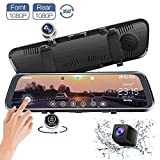 CHICOM Mirror Dash Cam, V33 10 Inch Full Touch Screen 350 Degrees 1080P