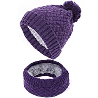 HAOLIEQUAN Ladies Knit Berretti Sciarpa 2 Pezzi Set Inverno Donna Cappello  Sciarpe Pompon Plus Velluto Addensare 5246dac3726e