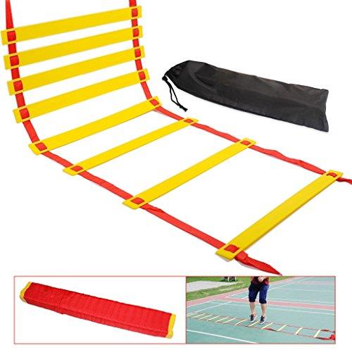 Beweglichkeits-Leiter, Geschwindigkeitstraining-Leiter, NATUCE Geschwindigkeitstrainings-Kit, Schnell – Wellness – Einstellbar – Flach – Für das Beweglichkeitstraining und Beinarbeits-Übungen mit dem weichen Leiter-Paket