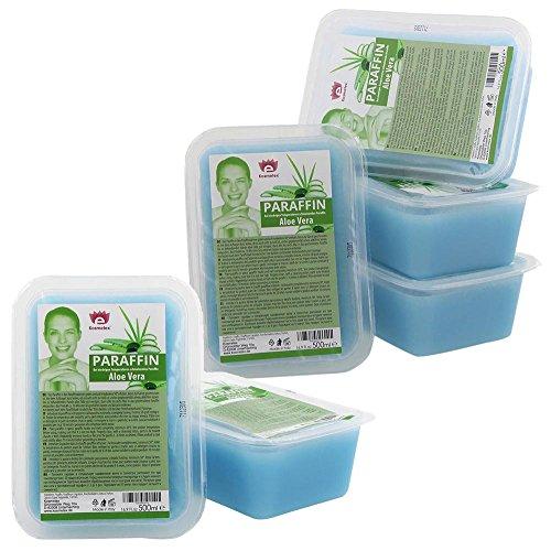 Kosmetex Paraffin-wachs, Paraffinbad Wachs mit niedrigeren Schmelzpunkt mit Aloe Vera Extrakt, 6x 500ml Aloe Vera -