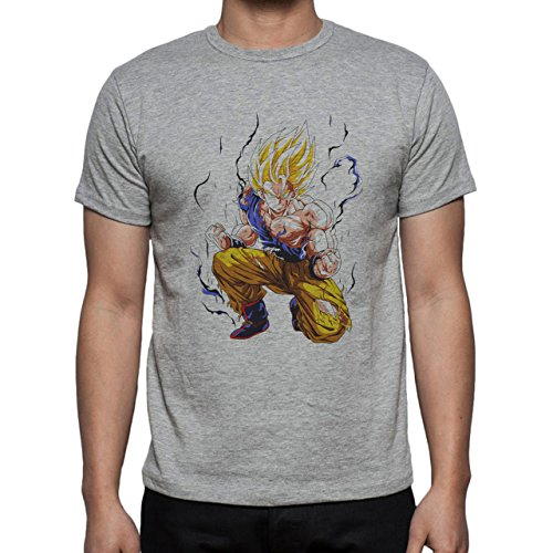 Dragon Ball Super Goku Saiyan Kneel Scars Angry Aura Blue Herren T-Shirt Grau