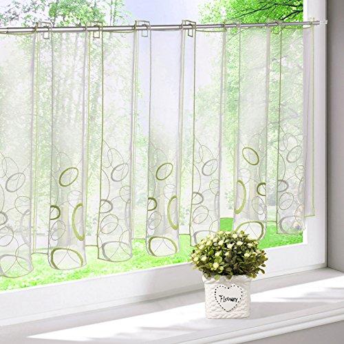 EZ GLAM Scheibengardine mit Bestickt Gardinen Transparent Voile Rollos 1PC Vorhang (H*B 60 * 144cm, Grün) (Land Vorhänge Küche)