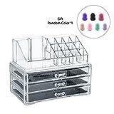 LEMAIKJ Acryl Kosmetik aufbewahrung Make up Organizer Schubladen Schmuck Kosmetikschrank mit 3 Schubladen für Schmuck und Nagellack,24 x 13,5 x 18,5 cm Transparent