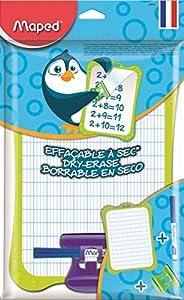 Maped - Kit Ardoise Blanche Effaçable + 1 Porte-Accessoires + 1 Brosse + 1 Feutre Ardoise - Ardoise Double Fac