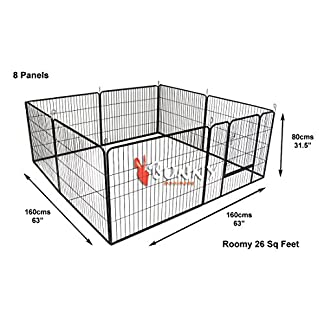 BUNNY BUSINESS Heavy Duty Modular Puppy Exercise Play/Whelping Pen, 160 x 160 x 80 cm, 8-Piece 51tyNn1QIVL